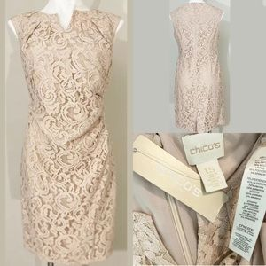 Chicos Size 1.5 M/10 Taupe/Tan Lace Overlay Dress